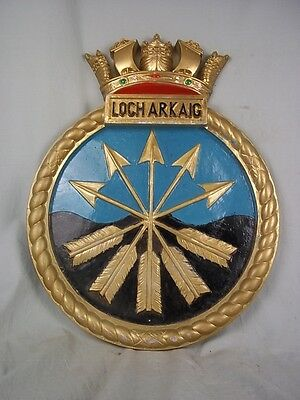 "HMS Loch Arkaig K603 Ships Badge 1944 Loch-class frigate 18x14"" One Off Casting"