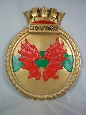 "HMS Carnarvon Bay (K630) Ships Badge, Bay-class frigate 18""x14"" One Off Casting"