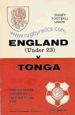 TONGA 1974 RUGBY TOUR PROGRAMME v ENGLAND UNDER 23 5th October, Twickenham
