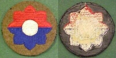 Pre to WW2 9th Infantry Div on OD Wool Disc Patch