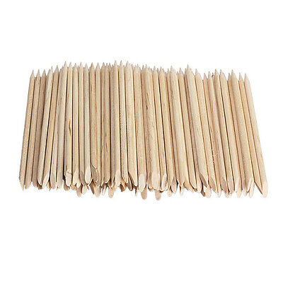 100 Nail Art Orange Wood Sticks Cuticle Pusher Remover Pedicure Manicure Tool