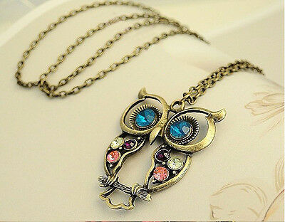 Vintage Colorful Cute Owl Carved Hollow Chain Necklace LKX0024