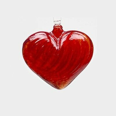 """Kitras HEARTS OF GLASS - RED Heart Shaped Ornament - Hand Blown Art Glass 4"""""""