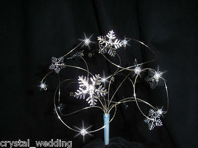 """Snowflakes swirl Cake topper Small  6""""  Ab crystals"""