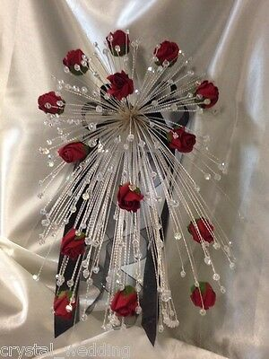 Crystal & Rose fall cascade wedding bouquet   4 sizes -Any colour roses