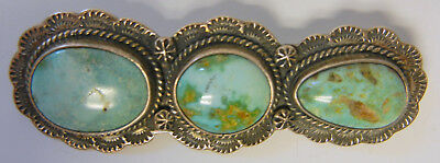 Federico Jimenez STERLING SILVER LANDSCAPE Antique TURQUOISE Big Size rooch  Pin