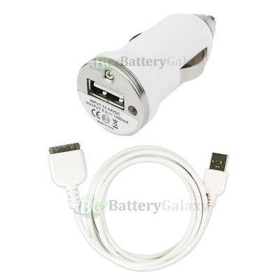 USB Mini Car Charger+Cable Data Cord for Apple iPod Nano 1G 2G 3G 4G 5G 6G HOT!