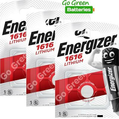 3 x Energizer CR1616 1616 3V Lithium Coin Cell Batteries DL1616 KCR1616, BR1616