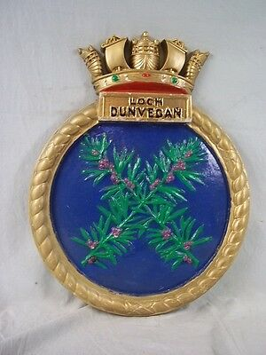 "HMS Loch Dunvegan (K425) Ships Badge  Loch-class frigate 18x14"" One Off Casting"