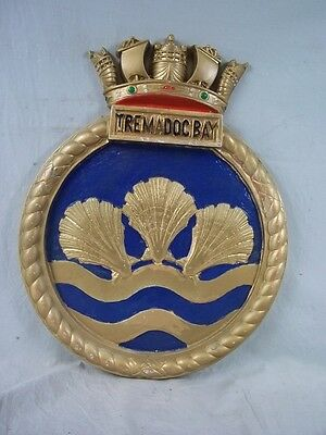 "HMS Tremadoc Bay (K605) Ships Badge Bay-class Frigate 18x14"" One Off Casting"