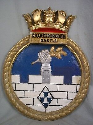 "HMS Knaresborough Castle (K389) Ships Badge Castle-class 18x14"" One Off Casting"