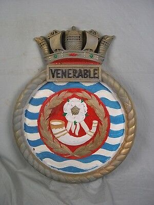 "HMS Venerable (R 63) Ships Badge Colossus-class Carrier 18x14"" One Off Casting"