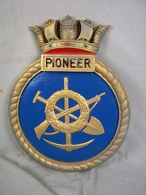 "HMS Pioneer (R 76) Ships Badge Colossus-class Carrier 18x14"" One Off Casting"