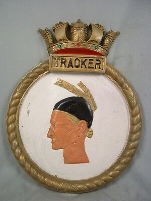 "HMS Tracker (D24) Ships Badge, Ruler-class Escort Carrier 18x14"" One Off Casting"