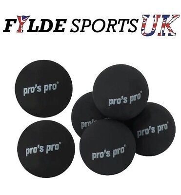 6 x Pro's Pro Squash Ball Double Yellow Dot