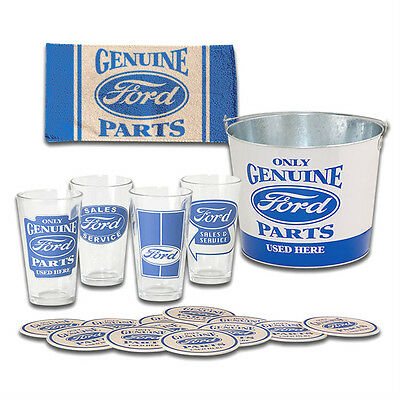 Ford Genuine Parts 4 Pint Glass Gift Set 5qt metal Bucket 12 Coasters Bar Towel