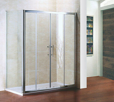 1700x700mm Sliding Shower Double Door Enclosure Glass Cubicle Stone Tray Chrome