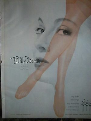 1957  BELLE-SHARMEER Leg Size Fully Fashioned Seamless Stockings Hosiery Ad