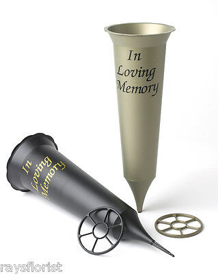 Plastic Grave Vase with Spike Reads In Loving Memory Available in Black or Gold