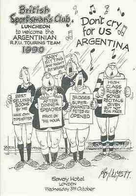 Argentina 1990 British Sportsmans Club Rugby Dinner Menu Card Nicely Illustrated
