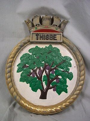 "HMS Thisbe (J 302) Ships Badge Algerian-class Minesweeper 18x14"" One Off Casting"