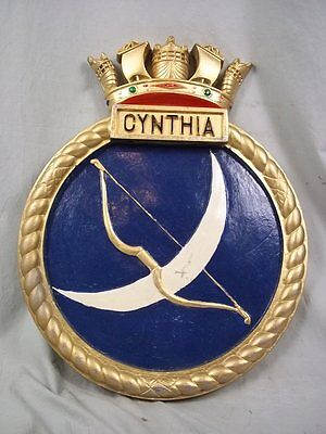 "HMS Cynthia (J 345) Ships Badge, Catherine Class M/S 18 x 14"" One Off Casting"