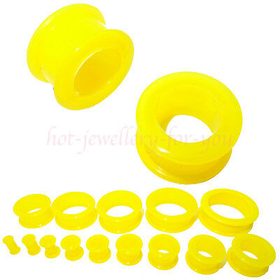 YELLOW Flesh Tunnel Flexible Ear Plug Flared Stretcher Soft Silicone 4mm to 30mm