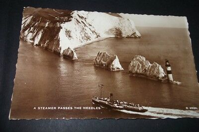 Old Postcard Of A Steamer Passes The Needles