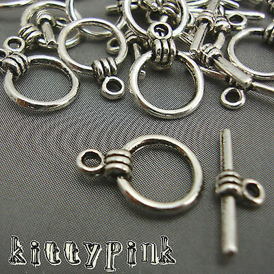 15 Silver Plated Round Toggle Clasps Necklace Findings