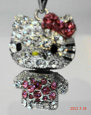 """NEW HELLO KITTY 3D MOVEABLE NECKLACE"" IN DIFFERENT COLORS-MUST SEE-MINT"