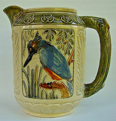 "WELLER POTTERY ZONA KINGFISHER 8 1/2"" BRANCH HANDLED PITCHER ART DECCO"
