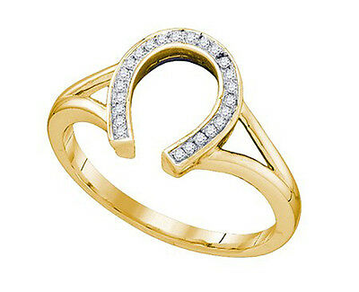 Lucky Horseshoe Diamond 10K Gold Ring .07 carats success love wealth fortune