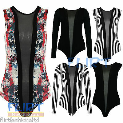 Womens Black Mesh Insert Panel Body Suit Ladies Contrast Stripe Sexy Leotard Top