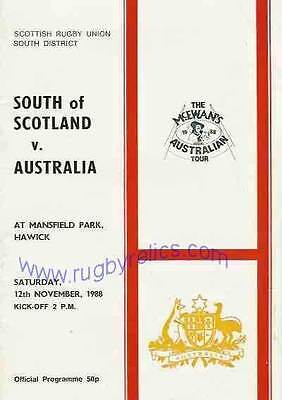AUSTRALIA 1988 RUGBY TOUR PROGRAMME v SOUTH OF SCOTLAND 12th November at Hawick