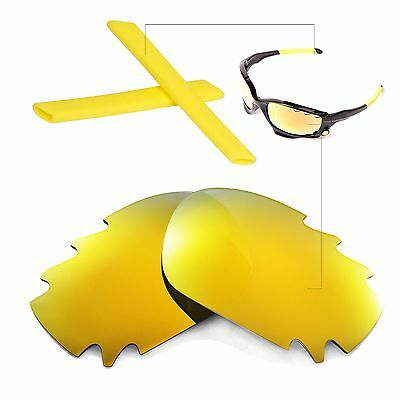 New Walleva Polarized 24K Gold Vented Lenses+Yellow Earsocks For Oakley Jawbone