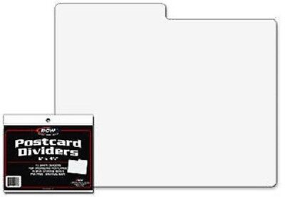 (10) BCW White Postcard Dividers Tabbed Archival Safe For Indexing and Storage