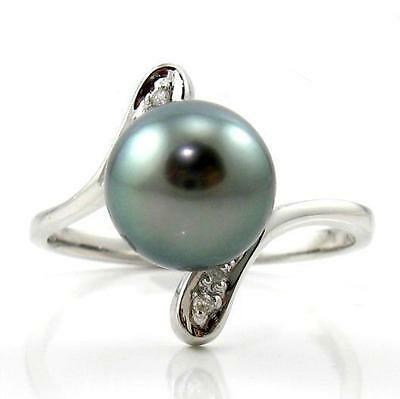8-9mm Top Quality Tahitian Black Pearl Ring in 14K White Gold & Diamonds