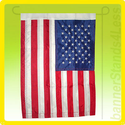 "12x18"" US American Flag Nylon Embroidered USA Sewn GARDEN Sleeved Flag"