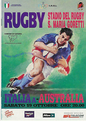 AUSTRALIA 1996 RUGBY TOUR PROGRAMME v ITALY A 19th October at Catania