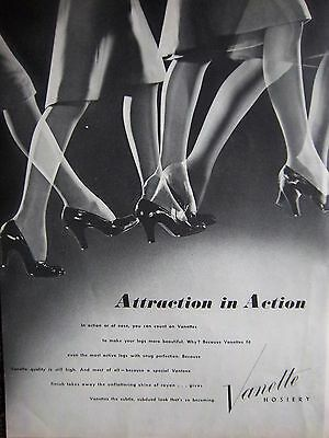 1944 Vintage VANETTE Hosiery Stockings Attraction in Action Womens Legs ad