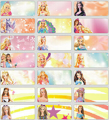 36 medium size Barbie personalised name stickers 4 school, childcare