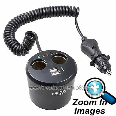RMS10 12v Lighter Socket Can Shape Twin Multi Socket Adapter, Twin USB Charger