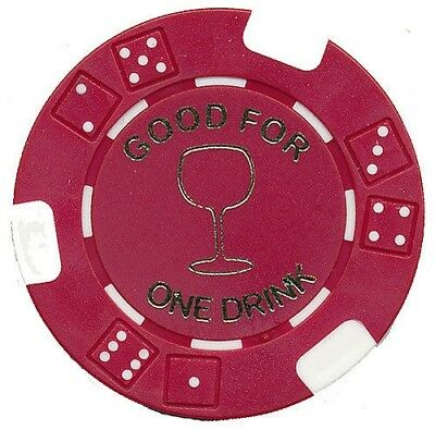 """100 Free Drink Poker Chips """"wine Glass"""" Style Tokens Restaurants Or Bar*"""