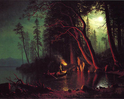 Bierstadt Lake Tahoe, Spearing Fish By Torchlight - Print Canvas Giclee Art 8X10