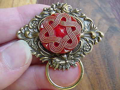 (E-530) Red gold star flower design Eyeglass pin pendant ID badge holder brooch