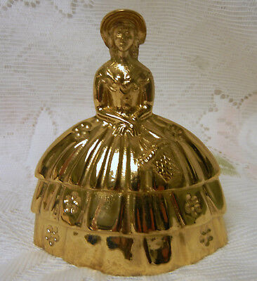Antique Brass or Bronze Figural Bell Victorian Woman Girl c 1920s