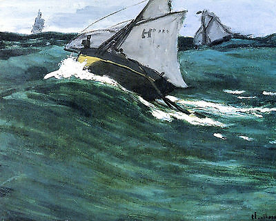 Monet The Green Wave - Print Canvas Giclee Art Repro 8X10