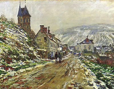 Monet Vetheuil In The Winter - Print Canvas Giclee Art Repro 11X14