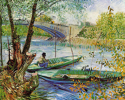 Van Gogh Fishing In Spring - Print Canvas Giclee Art Repro 8X10