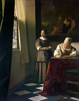 Vermeer Lady Writing A Letter With Her Maid - Print Canvas Giclee Repro 11X14